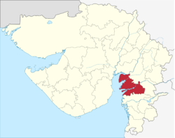 Location of Bharuch district in Gujarat