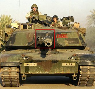 Gun mantlet - Gun mantlet, highlighted in red, mounted to a tank's main gun (American M1A1 Abrams)