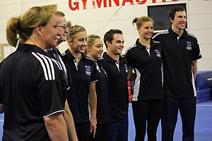 Janine Murray - Murray, second from the right, with her Australian gymnastic Olympic teammates at the Australian Institute of Sport.