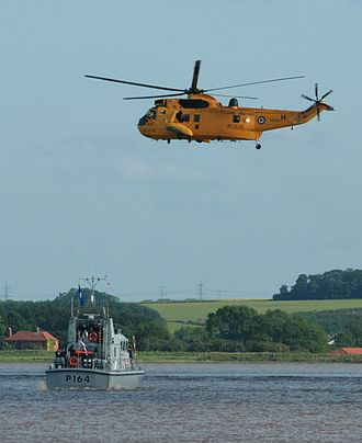 HMS Explorer (P164) - Westland Sea King helicopter and Explorer, at the celebrations of the Diamond Jubilee of Elizabeth II on 4 June 2012 at the Humber Bridge