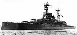 HMS Royal Oak (08) - Royal Oak at anchor after her 1924 refit