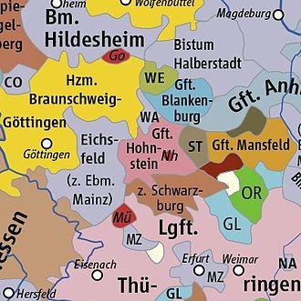 Principality of Göttingen - Image: HRR 1400, Ausschnitt Grafschaft Hohnstein