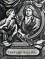 HUA-104902-Portret van François Halma geboren 13 januari 1653 boekdrukker te Utrecht overleden 13 januari 1722 Borstbeeld links in ovaal met links een muze.jpg