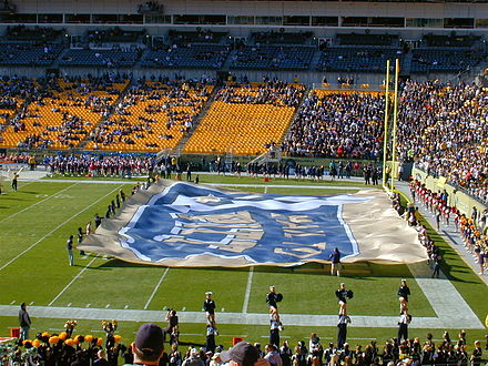 Hail to Pitt Flag on display during pre-game ceremonies HailtoPittFootballFlagHeinz.jpg