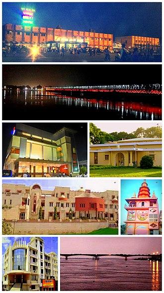 Hajipur - Anticlockwise from top: Hajipur Railway Station, Old Gandak bridge view, Cinekrishna Mall, Institute of Hotel Management, Hotel Anamika, view of Mahatma Gandhi Setu, Nageshwarnath Temple and Circuit House.