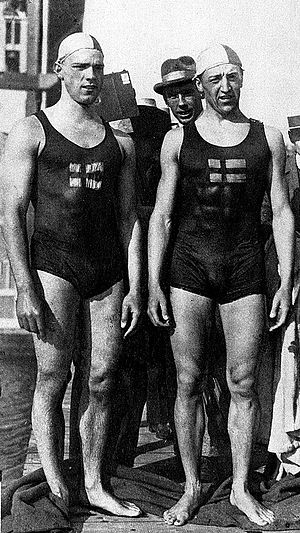 1987 in Sweden - Håkan Malmrot (right), twice Olympic Champion in 1920