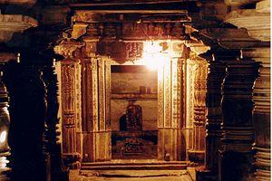 Lakshmi Devi Temple, Doddagaddavalli - Doorjamb and lintel relief decoration in Lakshmidevi temple at Doddagaddavalli