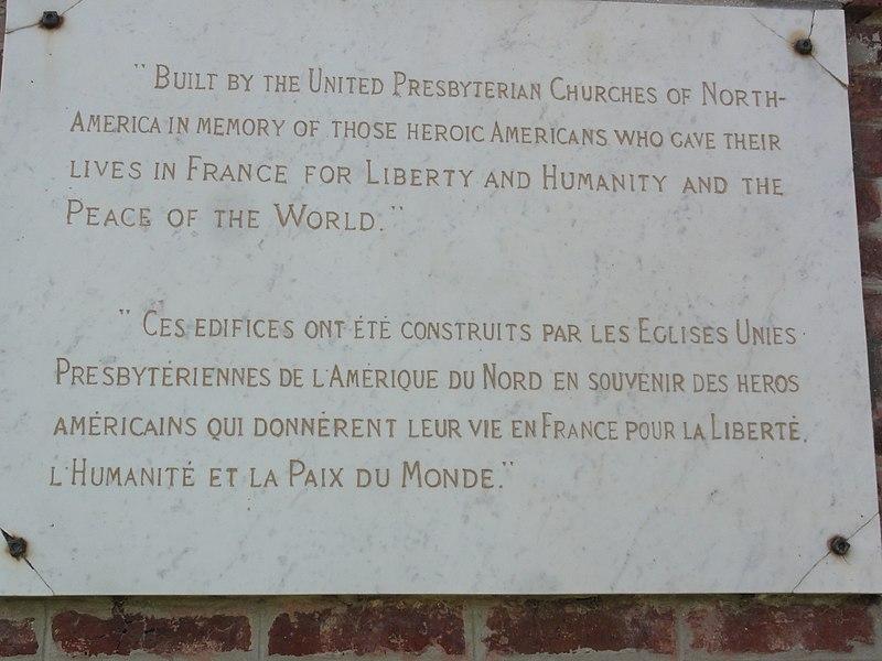 Hargicourt (Aisne) chapelle presbytérien, plaque