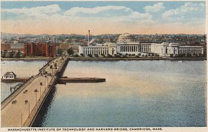 Harvard Bridge - Postcard showing Harvard Bridge, looking toward Cambridge and MIT sometime between 1916 and 1924