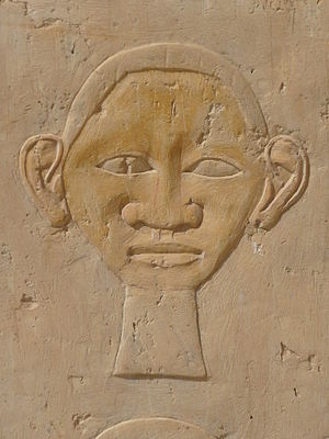 Face (hieroglyph) - Face hieroglyph (detailed closeup view).