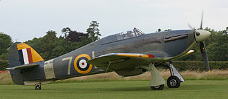 Cantilever - A British Hawker Hurricane from World War II with cantilever wings