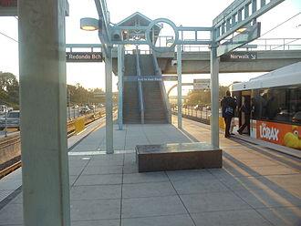 Hawthorne/Lennox station - Metro Green Line heading to Norwalk departing Hawthorne Metro Green Line Station.