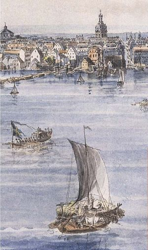 Fredmans epistlar - Detail of watercolour by Johan Fredrik Martin of a scene reminiscent of Ulla Winblad's journey back from Lake Mälaren to Stockholm in Epistle No. 48, Solen glimmar blank och trind