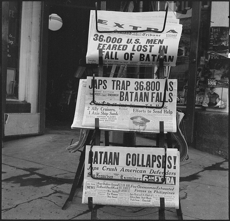 Hayward, California. As Bataan fell, as recorded in these newspapers of April 9, 1942, evacuation o . . . - NARA - 536016