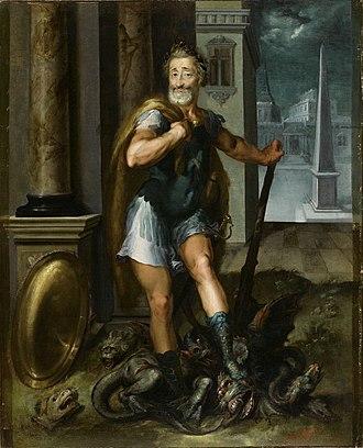 Lernaean Hydra - Image: Henry IV en Herculeus terrassant l Hydre de Lerne cad La ligue Catholique Atelier Toussaint Dubreuil circa 1600