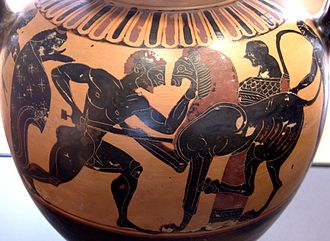 Pseudo-Chalkidian vase painting - Herakles killing the Nemean Lion, front of a neck amphora by the Polyphemus Group, circa 560/540 BC. Paris: Louvre.