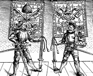 Blessed sword and hat - Heralds of Pope Julius II holding papal banners, as well as a blessed sword (left) and an oversized blessed hat