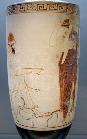 Divine judgment - Hermes as Guide of Souls prepares to lead a woman to the afterlife (5th century BC lekythos)