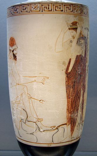 Charon's obol - On this white-ground lekythos (ca. 450 BC), Hermes prepares a woman for her journey to the afterlife