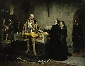 Klaus Fleming - The regent duke Charles (later king Charles IX) insulting the corpse of Clas Eriksson Fleming in presence of the Dowager-Governor of Åbo, Ebba Stenbock. Albert Edelfelt's painting, 1878.