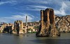 The piers of Hasankeyf's Old Bridge stand in the Tigris river 900 years after its construction
