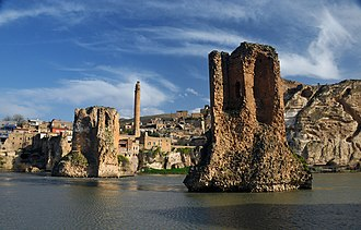 Old Bridge, Hasankeyf - The piers of Hasankeyf's Old Bridge stand in the Tigris river more than 850 years after its construction. They are expected to be submerged within two years of completion of the Ilısu Dam, projected to begin in 2018.