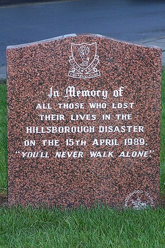 Liverpool F.C. 0–2 Arsenal F.C. (26 May 1989) - A memorial to the Liverpool supporters who lost their lives at Hillsborough. The incident happened a few weeks before the title decider.