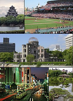 From top left: Hiroshima Castle, Baseball game of Hiroshima Toyo Carp in Hiroshima Municipal Baseball Stadium, Hiroshima Peace Memorial (Genbaku Dome), Night view of Ebisu-cho, Shukkei-en (Asano Park)