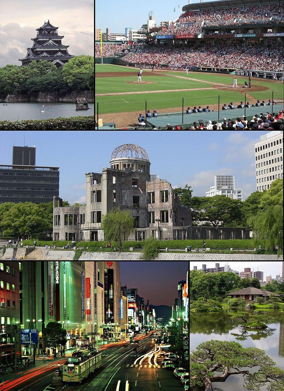 From top left: Hiroshima Castle, baseball game of Hiroshima Toyo Carp in Hiroshima Municipal Baseball Stadium, Hiroshima Peace Memorial (Genbaku Dome), night view of Ebisu-cho, Shukkei-en (Asano Park)