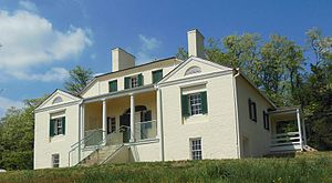 Huntley (plantation) - Southern face of the house from the terraced lawn, seen in the spring of 2012.