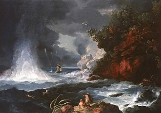 William Hodges - A View of Cape Stephens in Cook's Straits New Zealand with Waterspout, 1776
