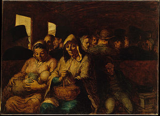Spanish Realist literature - The Third-Class Wagon (1864), by realist painter Honoré Daumier