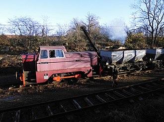 "Rutland Railway Museum - Sentinel ""Jean"" with a hopper wagon train."