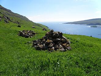 Hov, Faroe Islands - The graves of Chieftain Havgrímur and his horse.