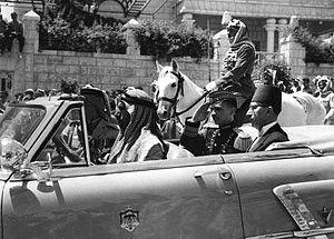 Tawfik Abu Al-Huda - Image: Hussein, with Prime Minister Tawfiq Abul Huda Throne ceremony