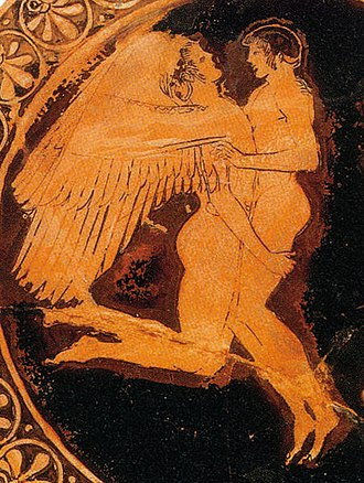 Hyacinth (mythology) - Hyacinthus and the West Wind on a red-figure vase