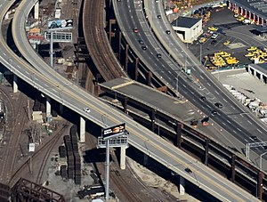 "Interstate 695 (Massachusetts) - ""Ghost ramp"" off I-93 northbound in Somerville, which was built as a future connection to the Inner Belt and never used"