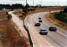 July 1988 photograph showing the barricades directing traffic to divert off I-696 at the Mixing Bowl