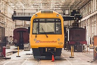 North Ipswich Railway Workshops - Despite its heritage status, Ipswich Workshops is still used to maintain modern Citytrains such as this Interurban multiple unit 100 Series.