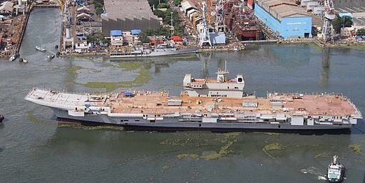 INS Vikrant being undocked at the Cochin Shipyard Limited in 2015 (05)