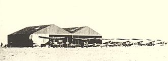 Battle of Romani - Ismailia Aerodrome with BE 2C two seater aircraft outside the hangars
