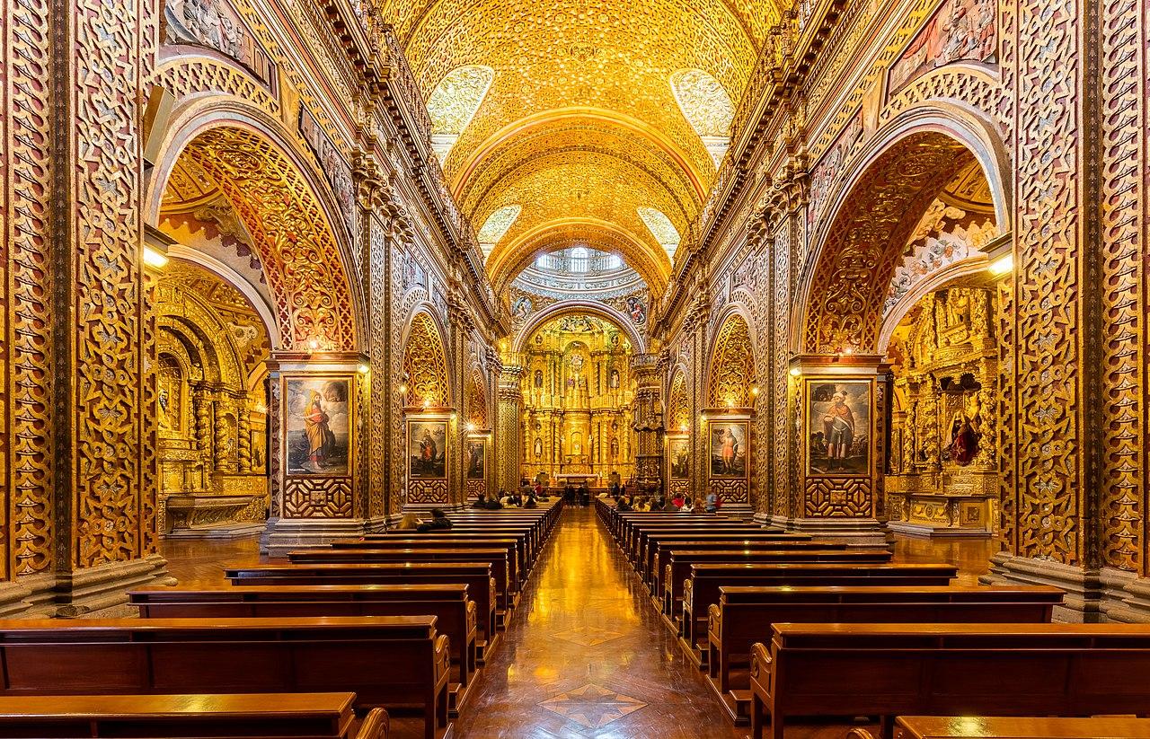 Vue intérieure de l'église de la Compagnie de Quito (Équateur).  (définition réelle 8062×5184)