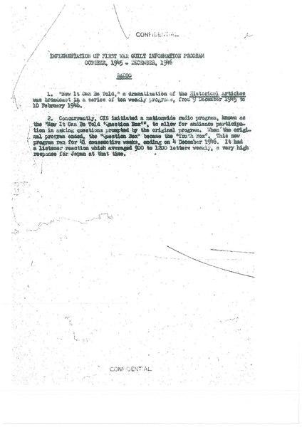 Implementation of First War Guilt Information Program (October,1945 - June, 1946)