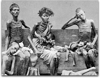 Famine in India - Victims of the Great Famine of 1876–78 in India, pictured in 1877.