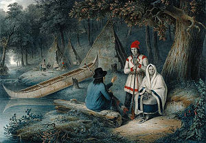 Canadian art - Cornelius Krieghoff, Indian Wigwam in Lower Canada, National Gallery of Canada.