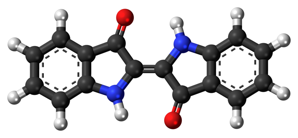 Ball-and-stick model of the indigo dye molecule