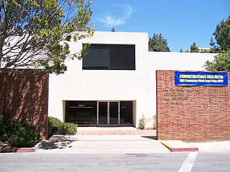 Institute for Pure and Applied Mathematics - A closer view of the entrance. The blue banner is on the occasion of UCLA's Department of Mathematics receiving the AMS exemplary math department prize for 2007.