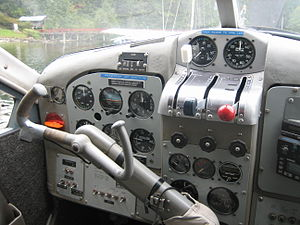 De Havilland Canada DHC-2 Beaver - Instrument panel of a DHC-2 -- note the single pilot's yoke, that can be handed over to the co-pilot, in flight.
