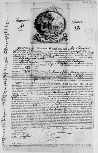 Property insurance - An 18th-century fire insurance contract.