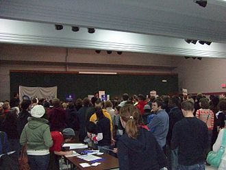 United States presidential primary - A 2008 Democratic caucus meeting in Iowa City, Iowa. The Iowa caucuses are traditionally the first major electoral event of presidential primaries and caucuses.